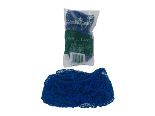 Royal Blue 4 Yard Ruffled Edge Lace In Bag Case Pack 96 - 697132