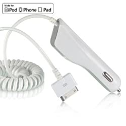 White Premium Luxmo Platinum Maxboost Universal Apple Car Charger (2100 Mah)