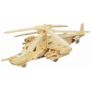 Blue ELF ® 3D Jigsaw Woodcraft Kit Natural Wooden Toy Puzzle Model--Apache - 1