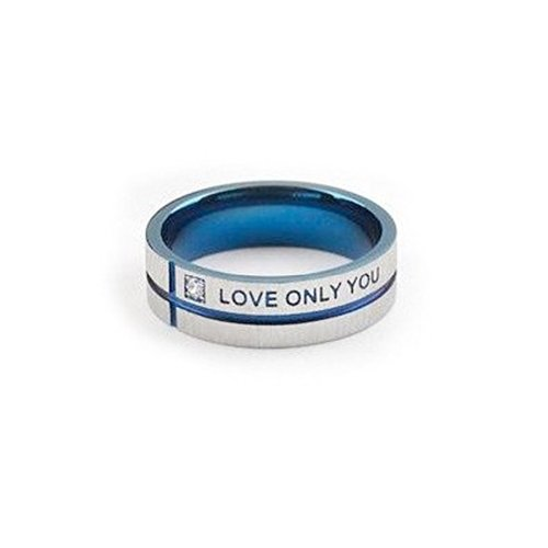 Only Love You - Blue Tint Love Ring / Promise Ring - Size Width 6Mm - Titanium Steel Womens Rings Size 5, 6, 7, 8, 9 & 10. Commitment Rings For Women Rings For Teens Girls. Purity Ring Or Anniversary Gifts For Her. I Love You Gifts. (7)