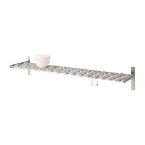 IKEA-6er-Wandregal-GRUNDTAL-120cm-Edelstahl