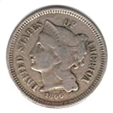 Civil War Era Nickel 1866 U.S. Three Cent Piece Coin