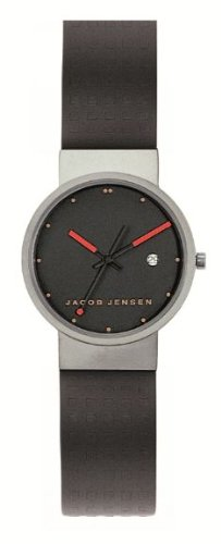 Jacob Jensen Clear Series Unisex Quartz Watch with Black Dial Analogue Display and Black Rubber Strap 410