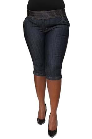 Women's Plus Size Brazilian Classic Capri Jeans By Pasion PJ5-CB-7318BLU (24)