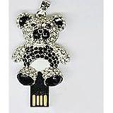 8GB Crystal Black&Silver Teddy Bear Design USB Flash Drive With Necklace