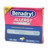 Benadryl Dye-Free Allergy Relief Liqui-Gels 24 Capsules