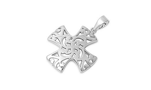 Sterling Silver Mosaic Iron Cross Pendant Christian Faith Charm 925 Italy 21Mm (Pendant Only)