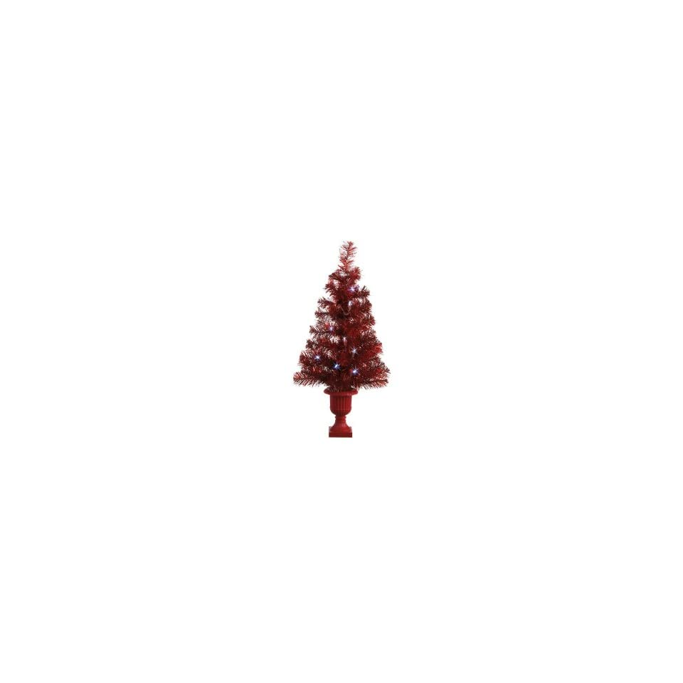 Pack of 2 Pre Lit LED Red Tinsel Christmas Trees 25   Clear Lights