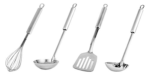 Set of 4 Stainless Steel Balloon Whisk Soup Ladle Spatula Noodle Scoop Kitchen Tool Cooking Utensil Set