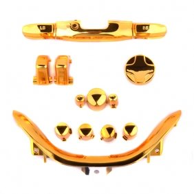 258Stickers® Xbox 360 Chrome Gold D Pad + Rt Lt + Rb Lb + Insert Abxy , Guide Buttons, Strat & Back Buttons