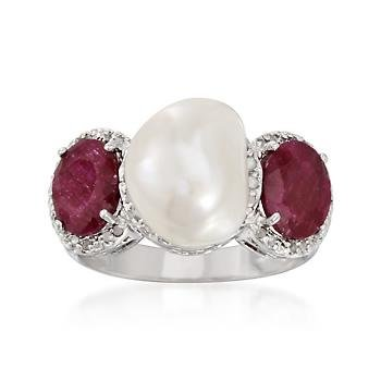 Cultured Pearl, 2.30ct t.w. Ruby Ring, .20ct t.w. Diamonds In Silver
