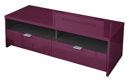 meubles tv berlioz banco banc tv panneau de particules haute densit prune brillant. Black Bedroom Furniture Sets. Home Design Ideas