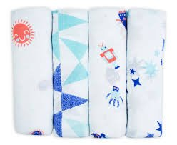Weegoamigo Little Linen Company Muslin 3 Pack Baby Infant Blanket Blue Purple Swaddler - 1