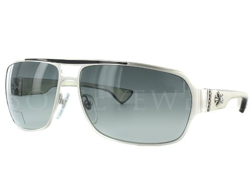 The Chrome Hearts Mount Brushed Silver / White Ebony Sunglasses feature 100% UV Protection, composite frame, gradient lens, non-polarized, silver Frame.  Lens width: 65 millimeters.  Bridge: 14 millimeters.  Arm: 129 millimeters.          via Chrome Hearts Mount Brushed Silver / White Ebony Sunglasses