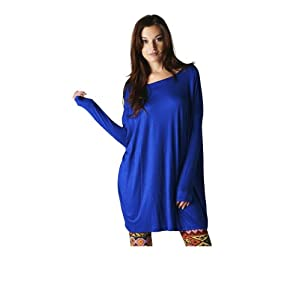 Oversized Women's Tunic Top Shirt or Dress Royal Blue Size: Small - Medium