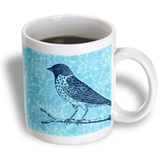 Ps Animals - Bird On Blue Queen Annes Lace Floral - 11Oz Mug (Mug_123553_1)