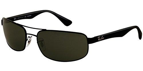 Ray Ban Men's RB3445 002/58 Black/Green, Polarized Aviator 61mm Sunglasses
