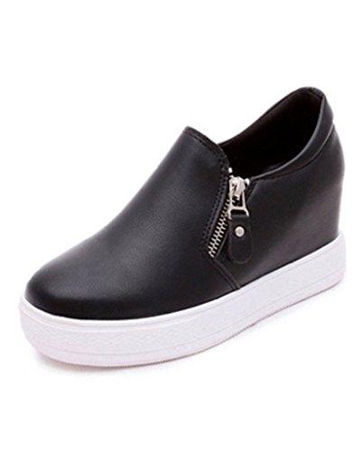 Minetom Donne Casuale PU Pelle Scarpe Da Ginnastica Piattaforma Stivali Altezza Crescente Shoes Platform Stivaletti Nero EU 38