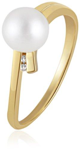 Goldmaid Damen-Ring Süßwasserperle 375 Gelbgold 2 Diamanten 0,02 ct. Pe R5735GG