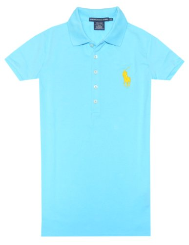 Ralph Lauren Sport Women Long Placket Pony Logo Polo T-Shirt (M, French Turquoise)