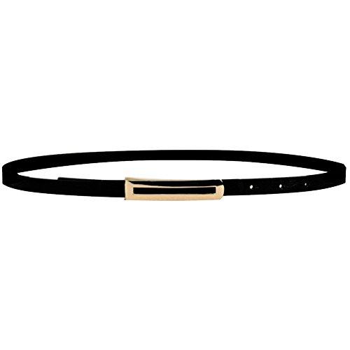 Weixinbuy Womens PU Leather Skinny Narrow Thin Buckle Waist Belt Black