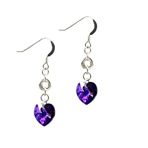 Heliotrope (black / purple) crystal hearts and chainmaille love knots earrings - Sterling Silver and Swarovski Elements crystal