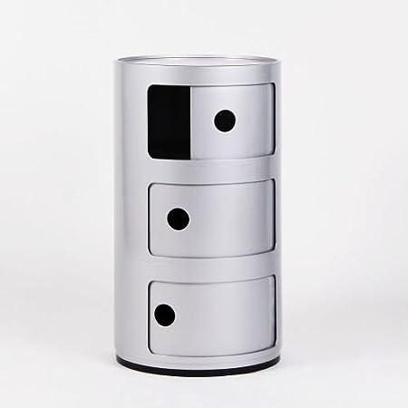 LO+DEMODA Bender - Cajonera, 3 cajones, color plata
