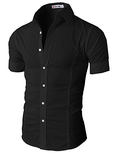 H2h mens casual slim fit wrinkle free short sleeve dress for Wrinkle free dress shirts amazon