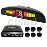 6 Rear Parking Reversing Sensors with LED Display 2 Front 4 Rear - Black