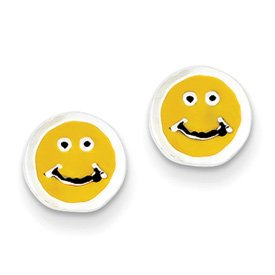 Genuine IceCarats Designer Jewelry Gift Sterling Silver Enameled Happy Face Post Earrings