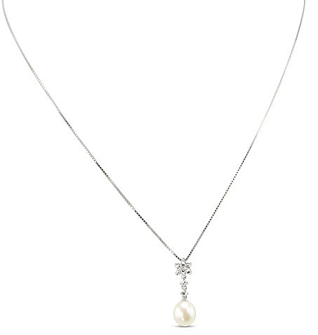 CleverEve's Drop Pearl Necklace With Cz Accents Set In Sterling Silver