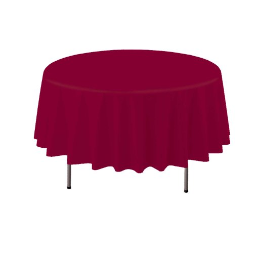 "Party Essentials Heavy Duty Round Plastic Table Cover, 84"", Burgundy"
