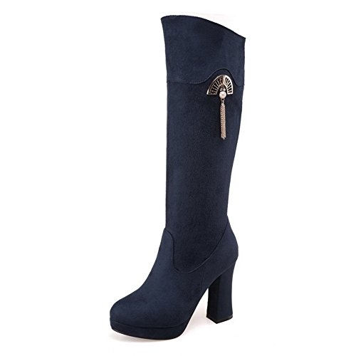 balamasa-ladies-chunky-heels-platform-sequin-blue-frosted-boots-1-uk