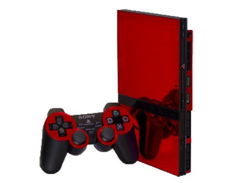Sony PlayStation 2 Slim (PS2 Slim) Skin - NEW - RED CHROME MIRROR system skins faceplate decal mod (Ps2 Console compare prices)