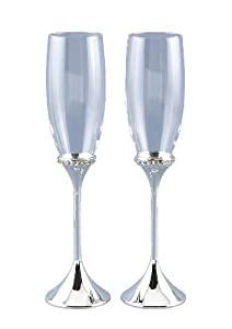 Hortense B. Hewitt Wedding Accessories Rhinestone Ring Champagne Toasting Flutes, Set of 2