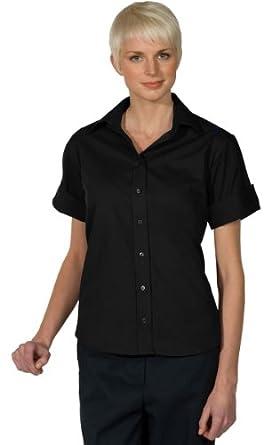 Ed Garments Women's Short Sleeve Poplin Shirt, BLACK, XX-Small