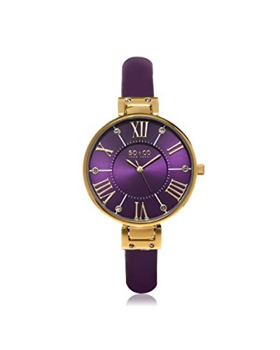 SO & CO Women's 5091.2 SoHo Purple Leather Watch