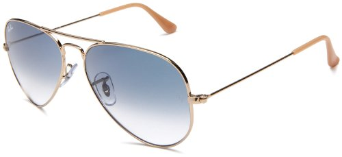 Ray-Ban RB3025 Aviator Large Metal Sunglasses 55 mm, Non-Polarized, Arista Gold/Crystal Blue Gradient