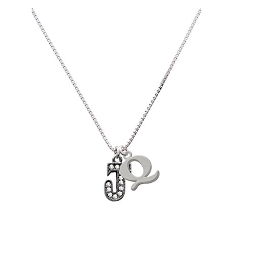 Crystal Black Initial - J - Beaded Border - Capital Initial Q Necklace