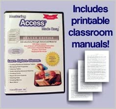 Mastering Access Made Easy Training Tutorial v. 2010 through 97 -How to use Microsoft Access video e Book Manual Guide. Even dummies can learn step by step from this total DVD for MS Access, featuring Introductory through Advanced material from Professor Joe