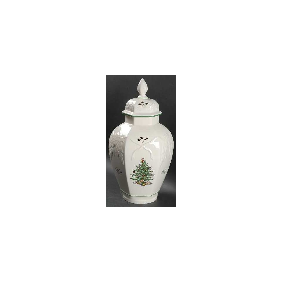 Spode Christmas Tree Green Trim Hexagonal Vase With Lid On