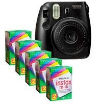 FujiFilm Instax Mini 8 Camera, 62x46mm Picture Size, Black - Bundle - with Five TwinPacks of Fujifilm Instax Mini Instant Daylight Film, 20 Exposures (Total 100 Sheets)