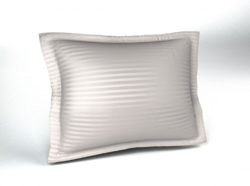 White 300TC Sateen Stripe Pillow Sham, Standard