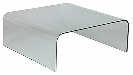 Table basse en verre carrée, L.104 X P.104 X Ht.41 cm -PEGANE-