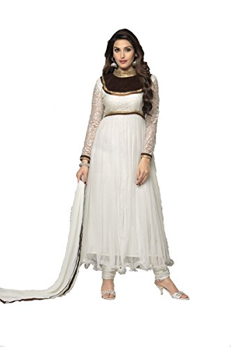 Suitsvilla White Latest Designer Frock Style Anarkali Suits