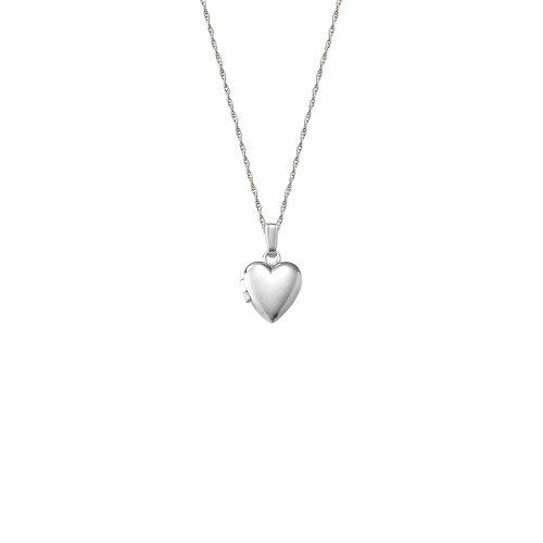 14k White Gold Children's Heart Locket Necklace, 13