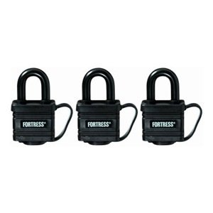 "Master Lock Covered Laminated Weatherproof Padlock For Water Resistance, 1-9/16"", 3-Pack"