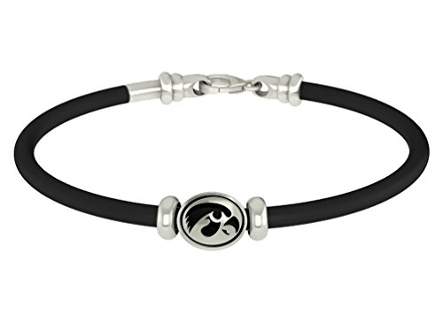 Iowa Hawkeyes Sterling Silver Oval Bead on Rubber Bracelet