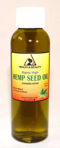 Hemp Seed Oil Organic Virgin Carrier Cold Pressed Unrefined Pure 2 Oz front-856291