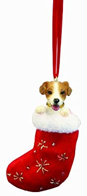 """Jack Russell Christmas Stocking Ornament with """"Santa's Little Pals"""" Hand Painted and Stitched Detail"""